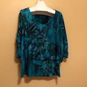 Size 3X Essentials 3/4 Length Sleeve Printed Tunic